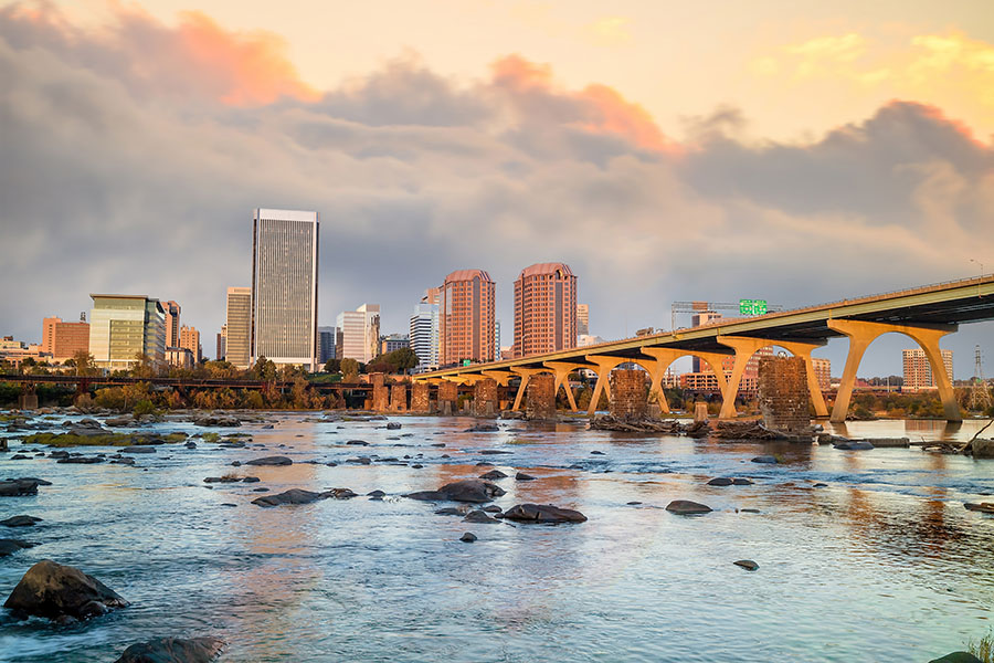 Richmond VA - Bridge and City Skyline of Richmond Virginia